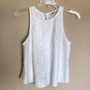 (S) white lace detail tank top